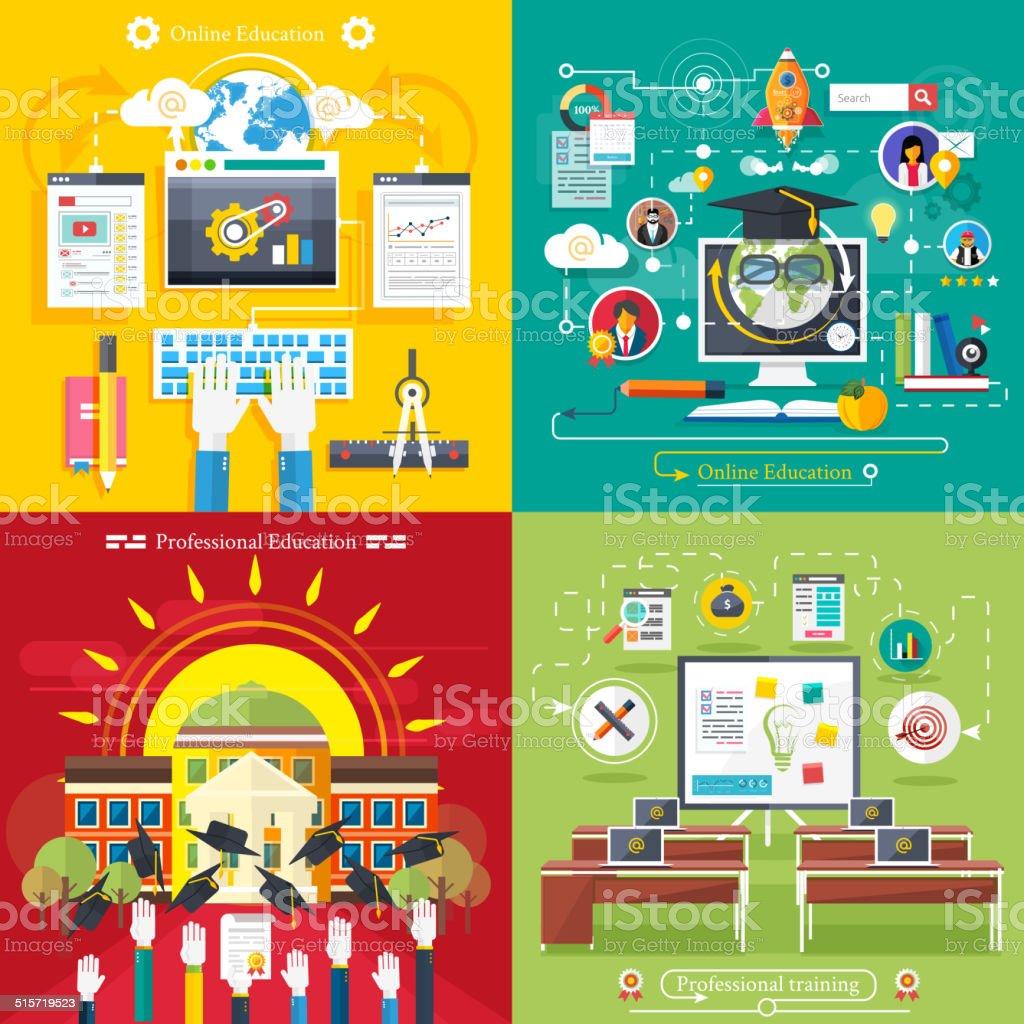 Education, online education, professional education vector art illustration
