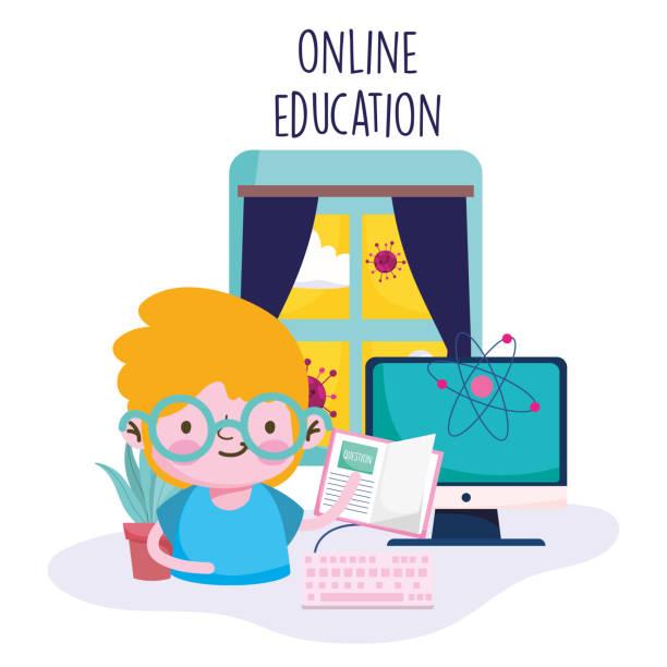 ilustrações, clipart, desenhos animados e ícones de educação on-line, menino com computador de livro na sala, pandemia coronavírus - salas de aula