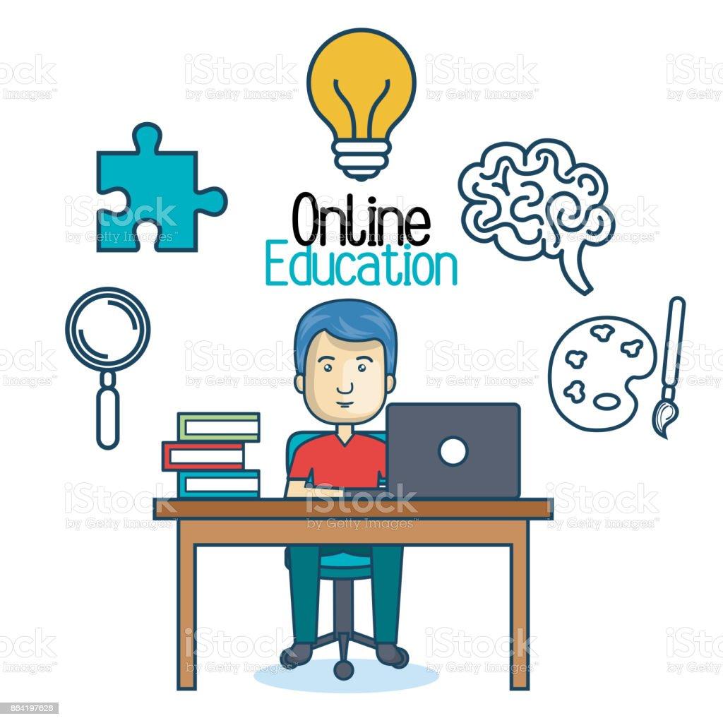 education online man desk laptop royalty-free education online man desk laptop stock vector art & more images of adult