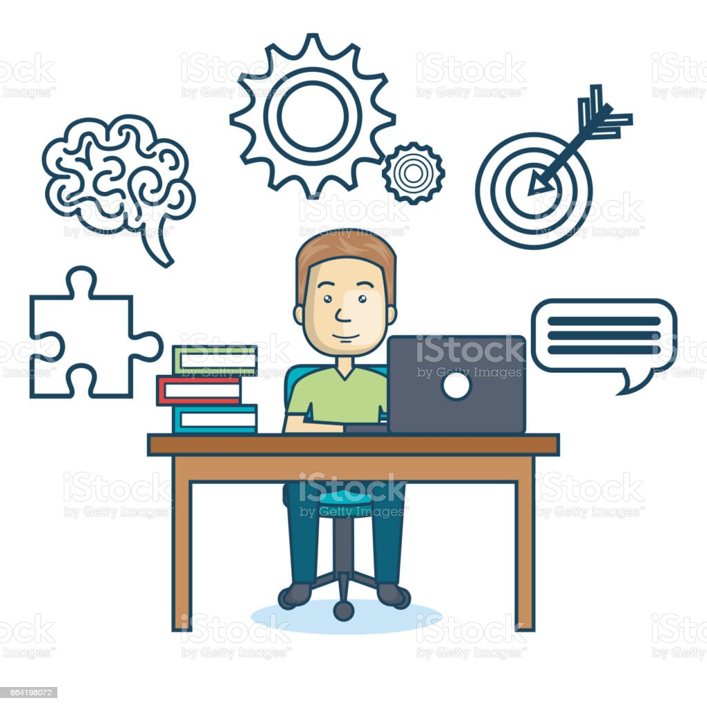 education online man desk laptop royalty-free education online man desk laptop stock vector art & more images of adult
