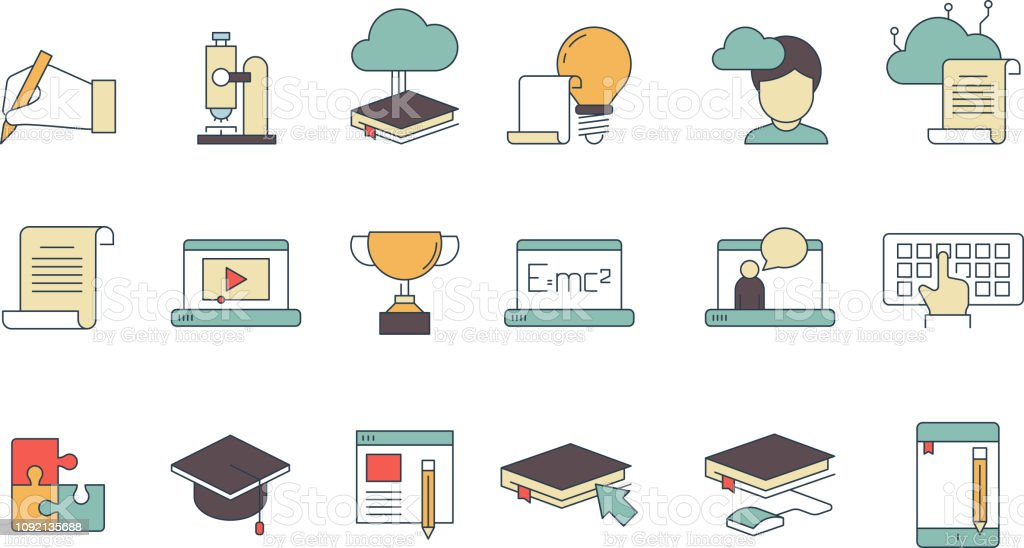 Education Online Symbols Special Learning Courses School ...