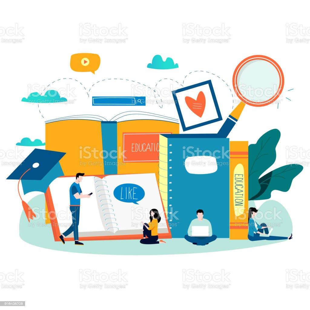 Education, online training courses, distance education flat vector...