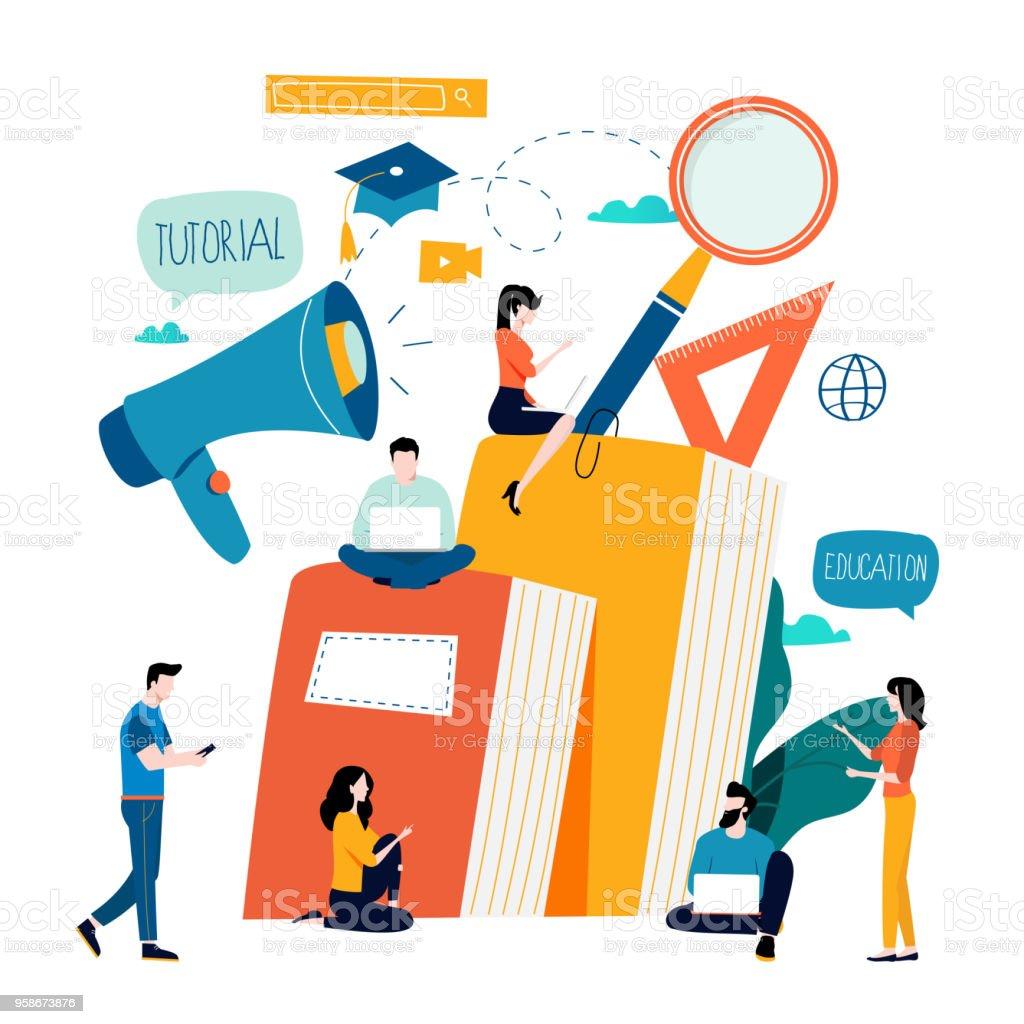 Education, online training courses, distance education vector art illustration
