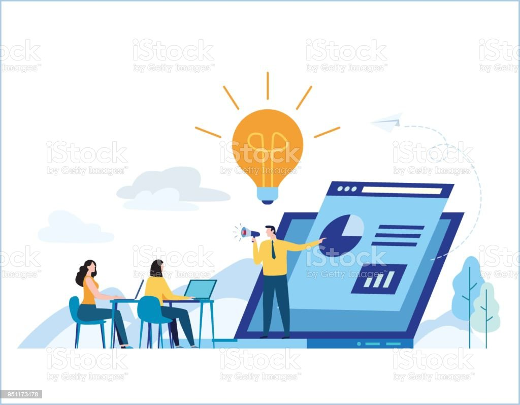 Education online training courses vector illustration. tutorials e-learning concept. distance internet studying banner. skill development. flat cartoon design for mobile and web vector art illustration