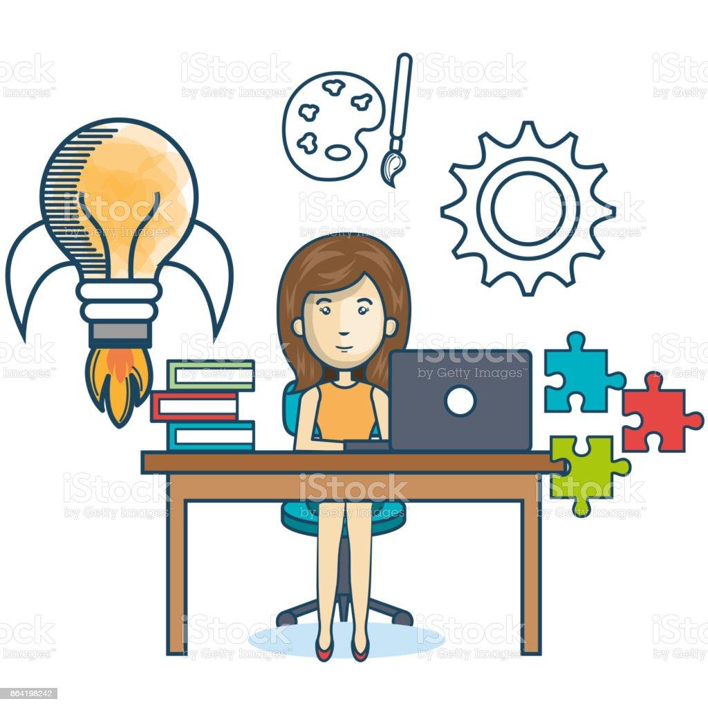 education online woman desk laptop royalty-free education online woman desk laptop stock vector art & more images of adult