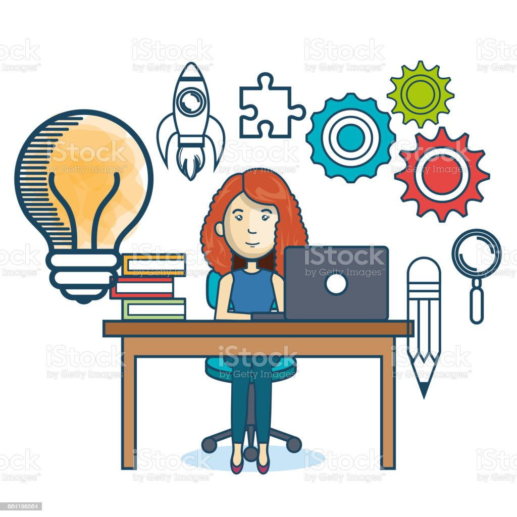 education online woman desk laptop royalty-free education online woman desk laptop stock vector art & more images of adult