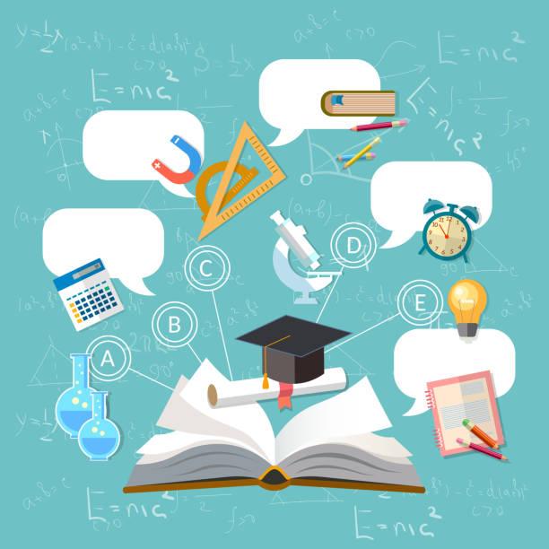 Education, open book, effective modern education template design. Back to school concept vector art illustration