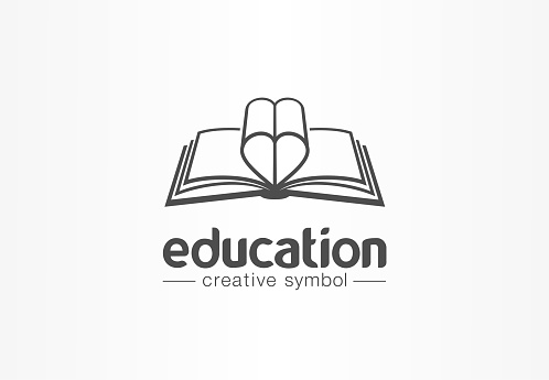 Education, open book with heart shape creative symbol concept. Novel, love story, affair abstract business idea. Learn, read icon.