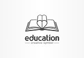 Education, open book with heart shape creative symbol concept. Novel, love story, affair abstract business idea. Learn, read icon. Graphic design tamplate