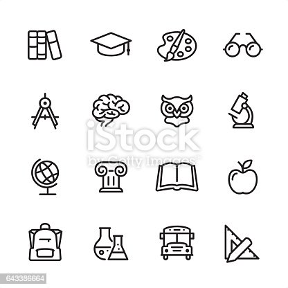16 line black and white icons / Set #16