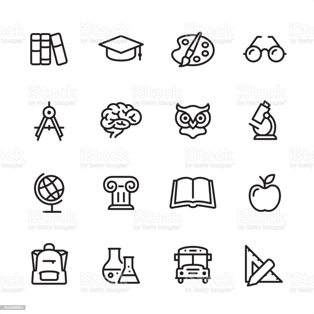 Education - outline icon set vector art illustration