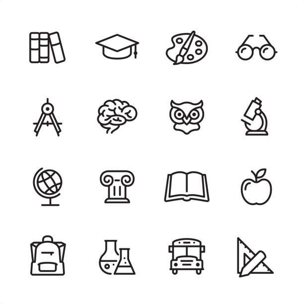 education - outline icon set - science class stock illustrations, clip art, cartoons, & icons