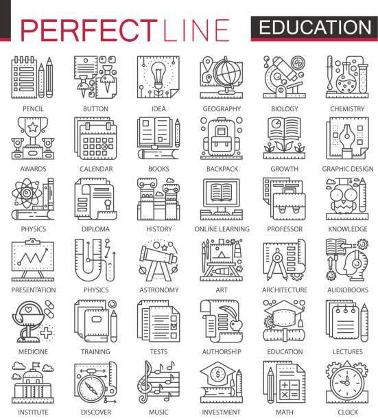 bildung gliederungssymbole mini-konzept. modernen linearen stil illustrationen strichsatz. schule universität perfekte dünne linie symbole. - reiseliteratur stock-grafiken, -clipart, -cartoons und -symbole
