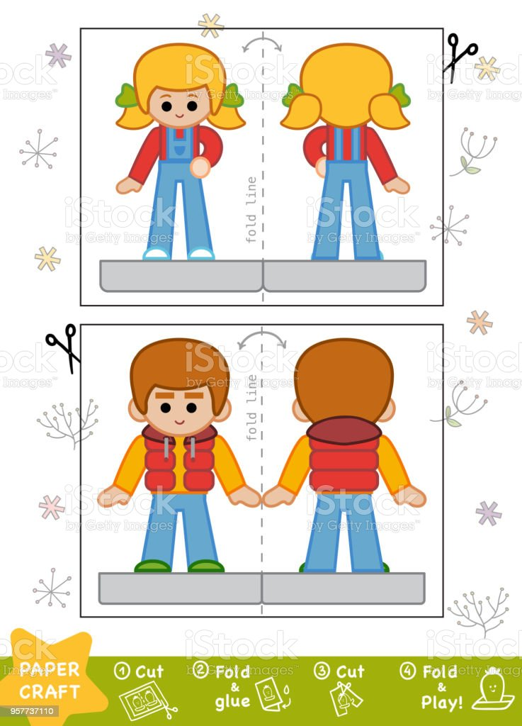 Education Paper Crafts For Children Boy And Girl Stock Vector Art