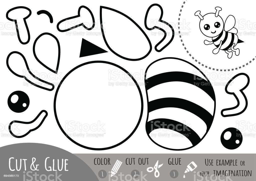 Bildungpapierspiel Für Kinder Biene Vektor Illustration 694565170 ...