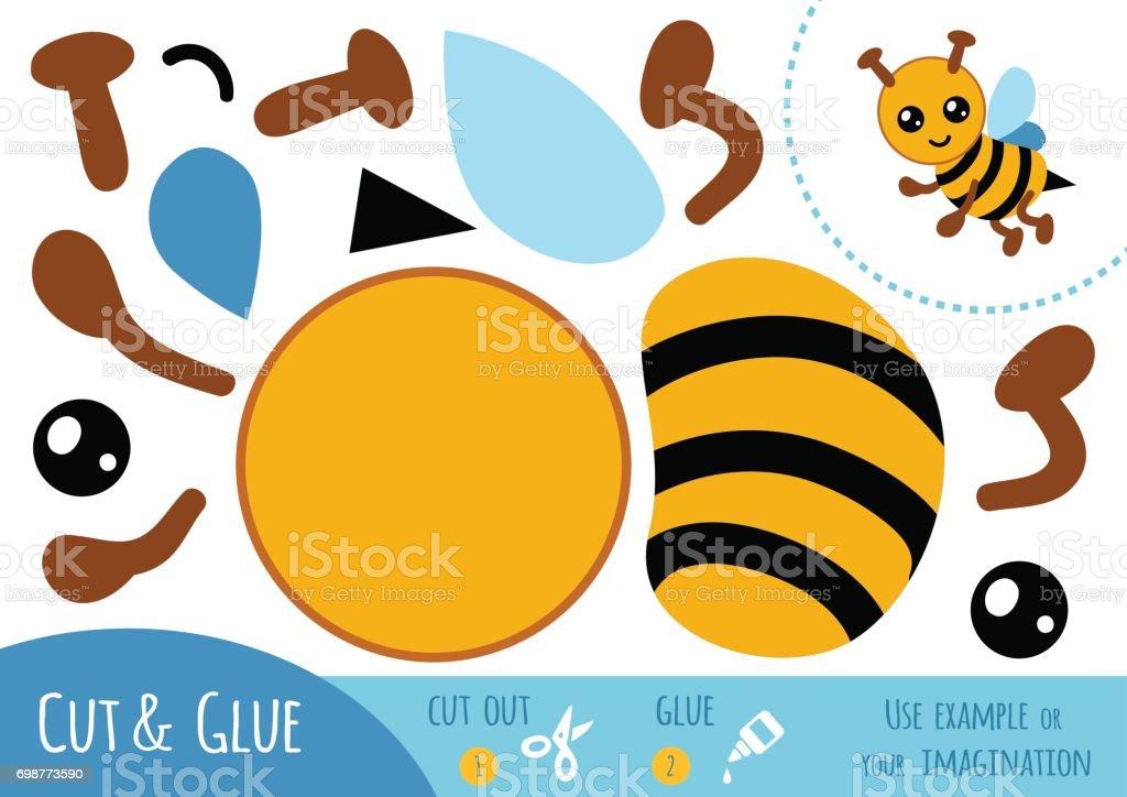 Education paper game for children, Bee vector art illustration