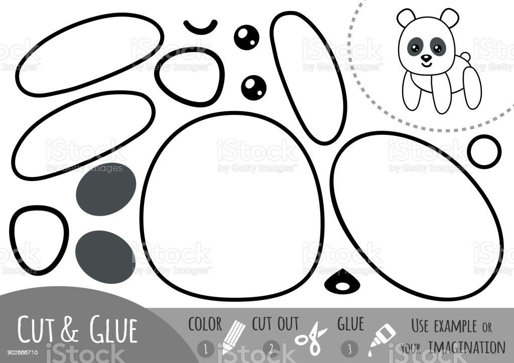 Bildungpapierspiel Für Kinder Panda Vektor Illustration 902666710 ...