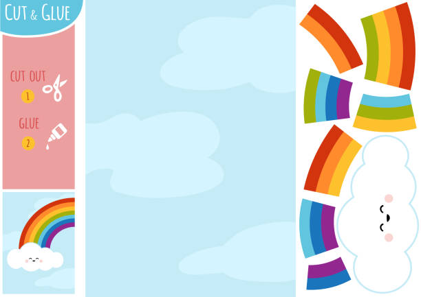 Education paper game for children, Rainbow and clouds in the blue sky vector art illustration
