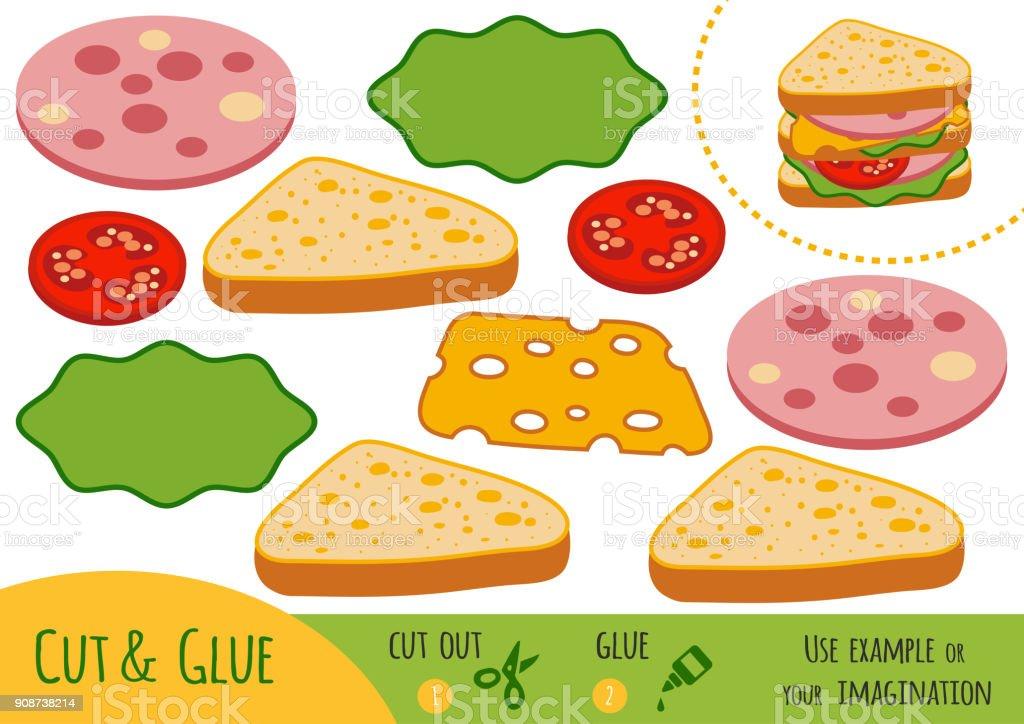 Education paper game for children, Sandwich vector art illustration