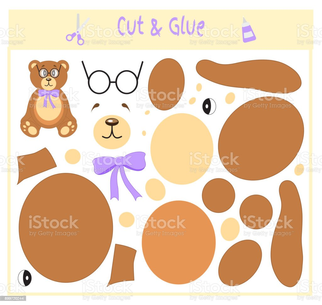 Education paper game for the development of preschool children. Cut parts of the image and glue on the paper. Vector illustration. Use scissors and glue to create the applique. Bear in glasses. Teddy vector art illustration