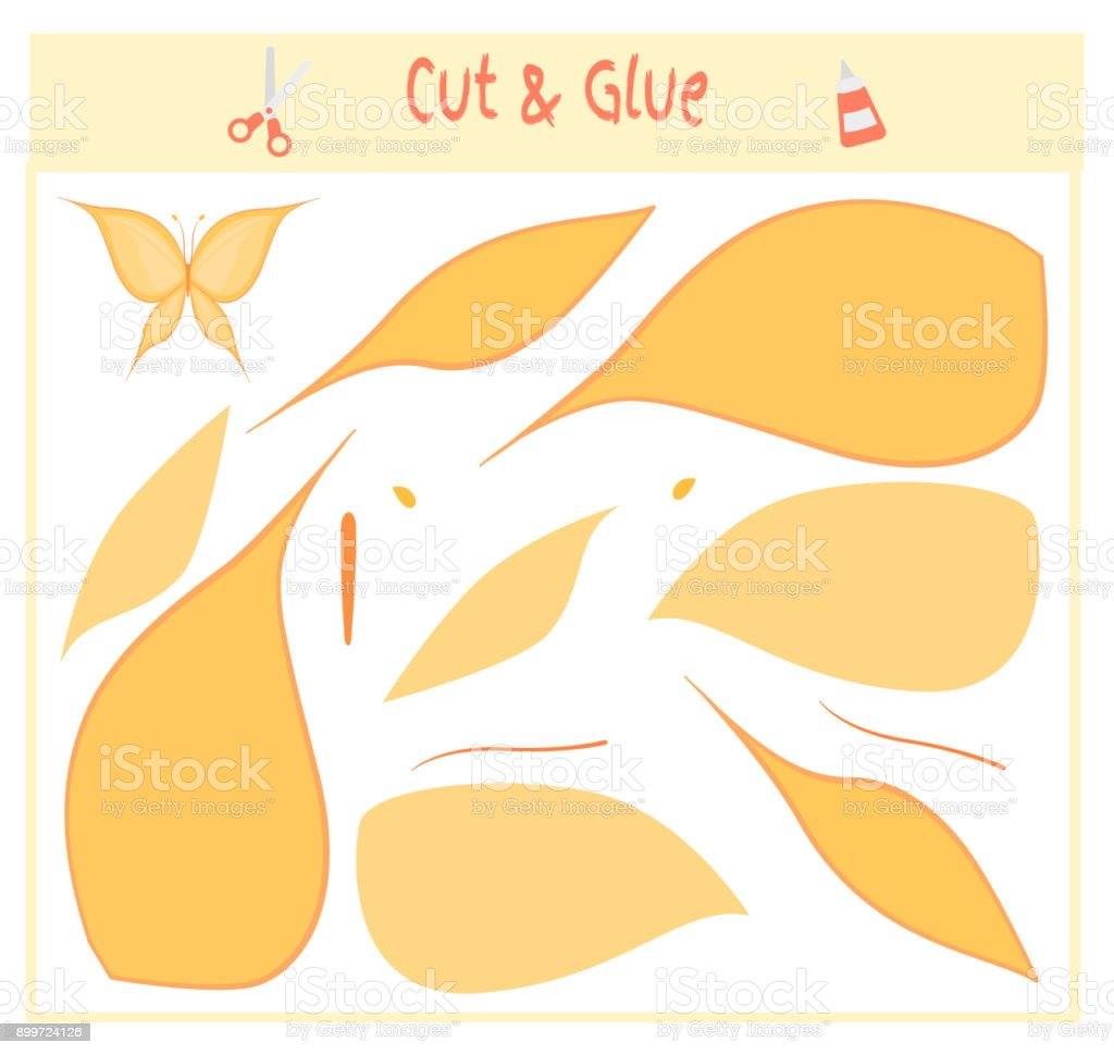 Education paper game for the development of preschool children. Cut parts of the image and glue on the paper. Vector illustration. Use scissors and glue to create the applique. butterfly vector art illustration