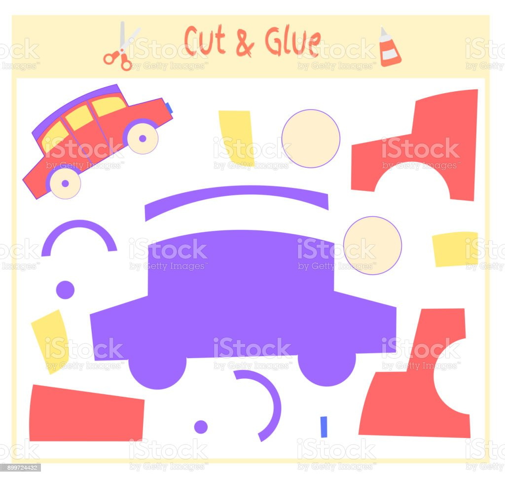 Education paper game for the development of preschool children. Cut parts of the image and glue on the paper. Vector illustration. Use scissors and glue to create the applique. toy car. vector art illustration