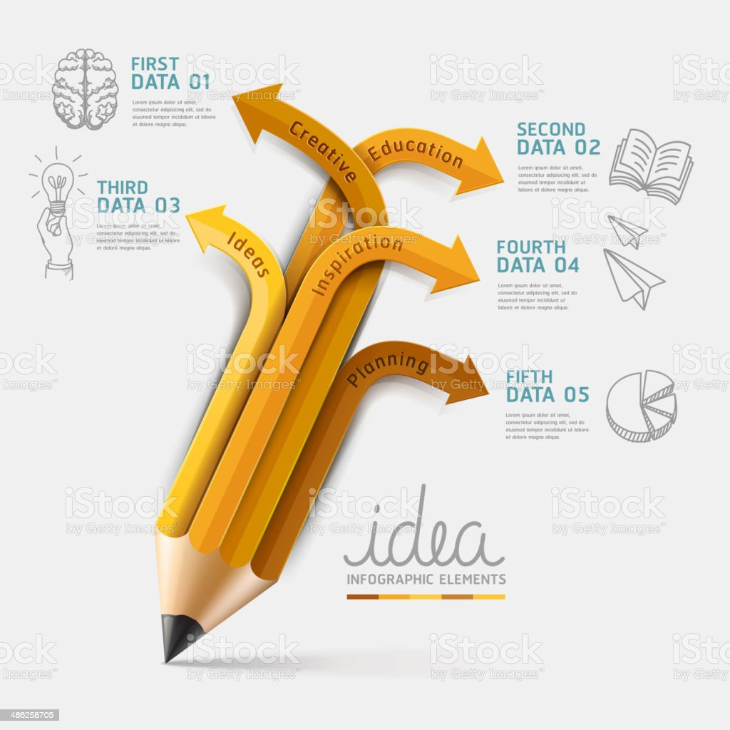 Education pencil Infographics step option. royalty-free education pencil infographics step option stock vector art & more images of back lit