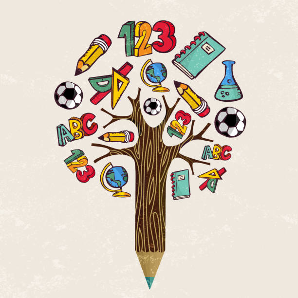 Education pencil tree concept for school learning vector art illustration