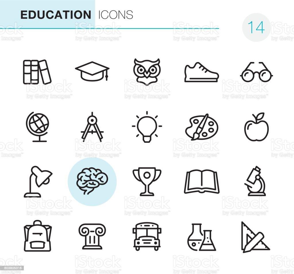 Educação - perfeito ícones Pixel - ilustração de arte em vetor