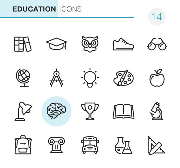 education - pixel perfect icons - book symbols stock illustrations