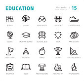Education - 20 Outline Style - Single line icons with captions / Set #15\nDesigned in 48x48pх square, outline stroke 2px.\n\nFirst row of outline icons contains:\nBooks, Brain, Eyeglasses, Wisdom, Sports Shoe;\n\nSecond row contains:\nGlobe, Mortarboard, School Bus, Idea, Art & Craft;\n\nThird row contains:\nDesk Lamp, Drawing, Apple, Trophy, Rules & Pencil;\n\nFourth row contains:\nBackpack, Book, Architecture, Chemistry, Microscope;\n\nComplete Signico collection - https://www.istockphoto.com/collaboration/boards/VT_7sDWo80OLh7foVxchBQ