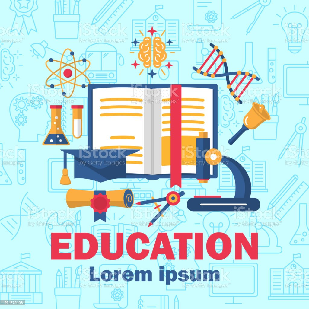 Education poster with flat colorful icons royalty-free education poster with flat colorful icons stock vector art & more images of art