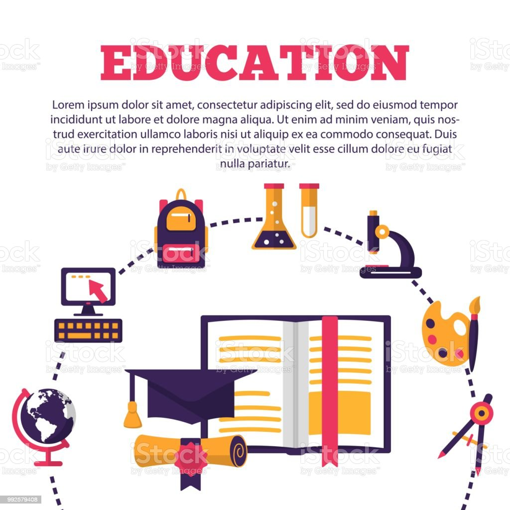 education poster with flat colorful icons stock vector art more
