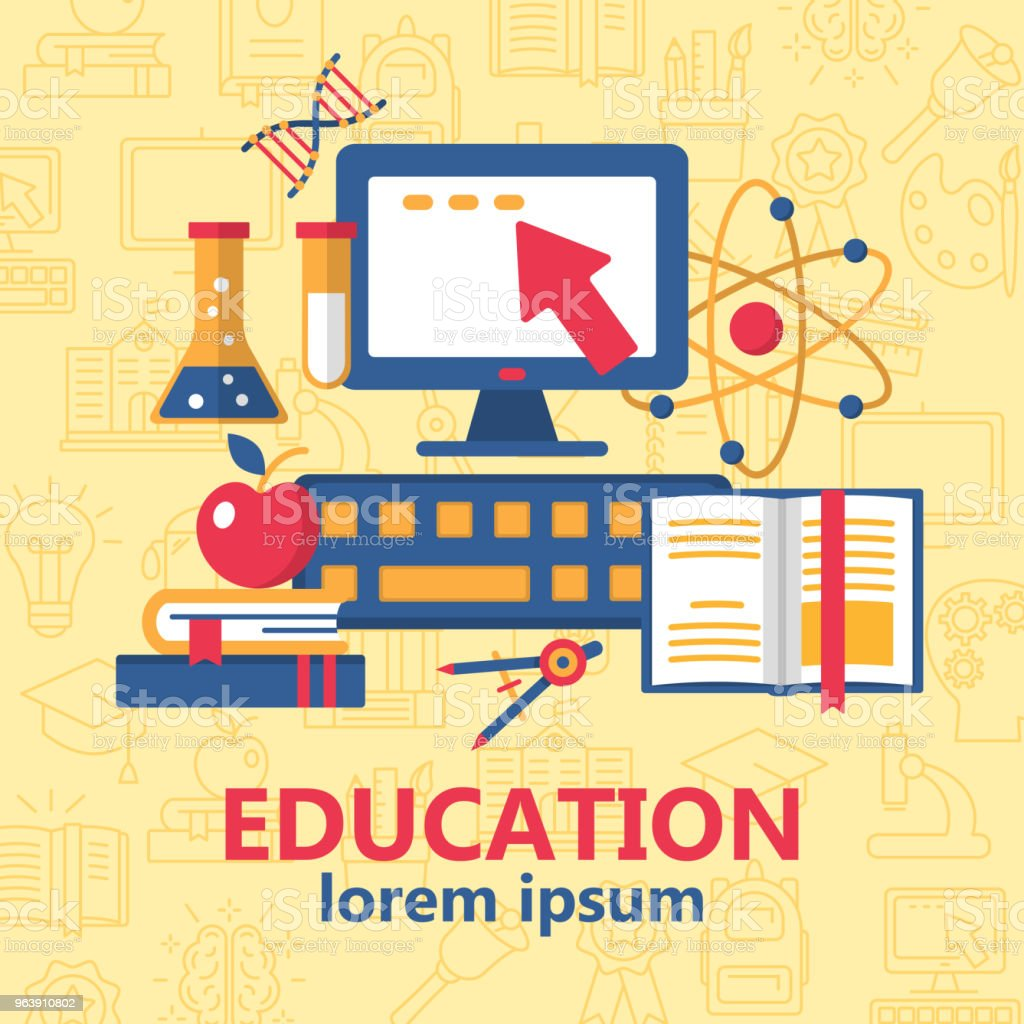 Education poster with various school supplies - Royalty-free Art stock vector
