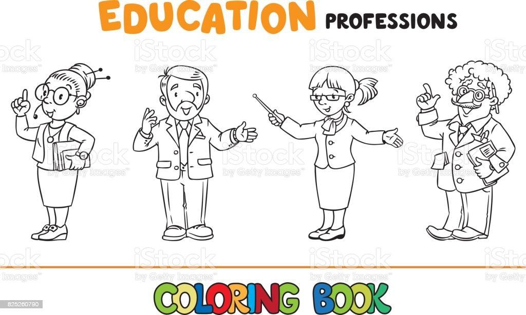 Ilustración de Libro Para Colorear Las Profesiones De Educación y ...