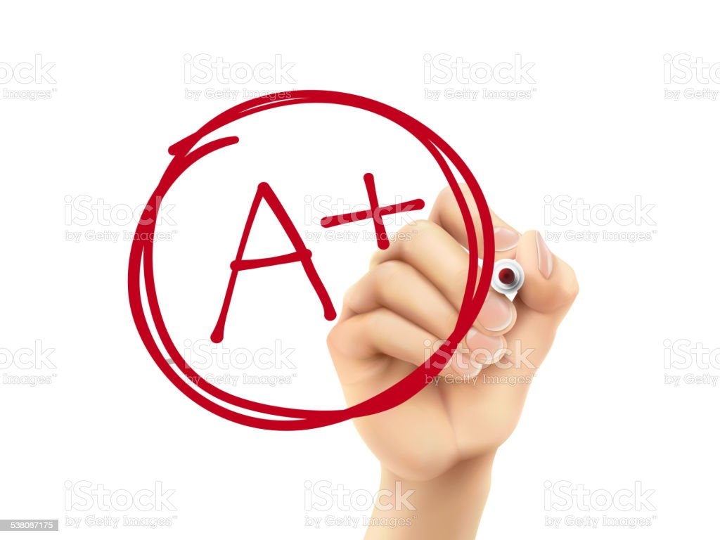 education rating A plus written by 3d hand vector art illustration