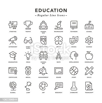 Education - Regular Line Icons - Vector EPS 10 File, Pixel Perfect 30 Icons.