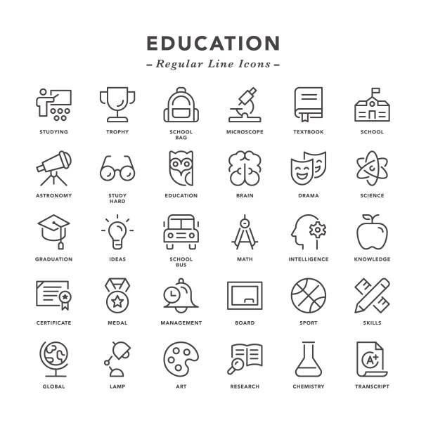 illustrazioni stock, clip art, cartoni animati e icone di tendenza di education - regular line icons - esame università