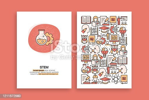 STEM Education Related Design. Modern Vector Templates for Brochure, Cover, Flyer and Annual Report.