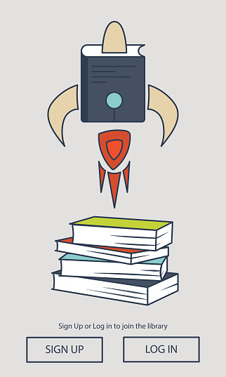 Education rocket with books pile. Online learning concept. Mobile UI for application.