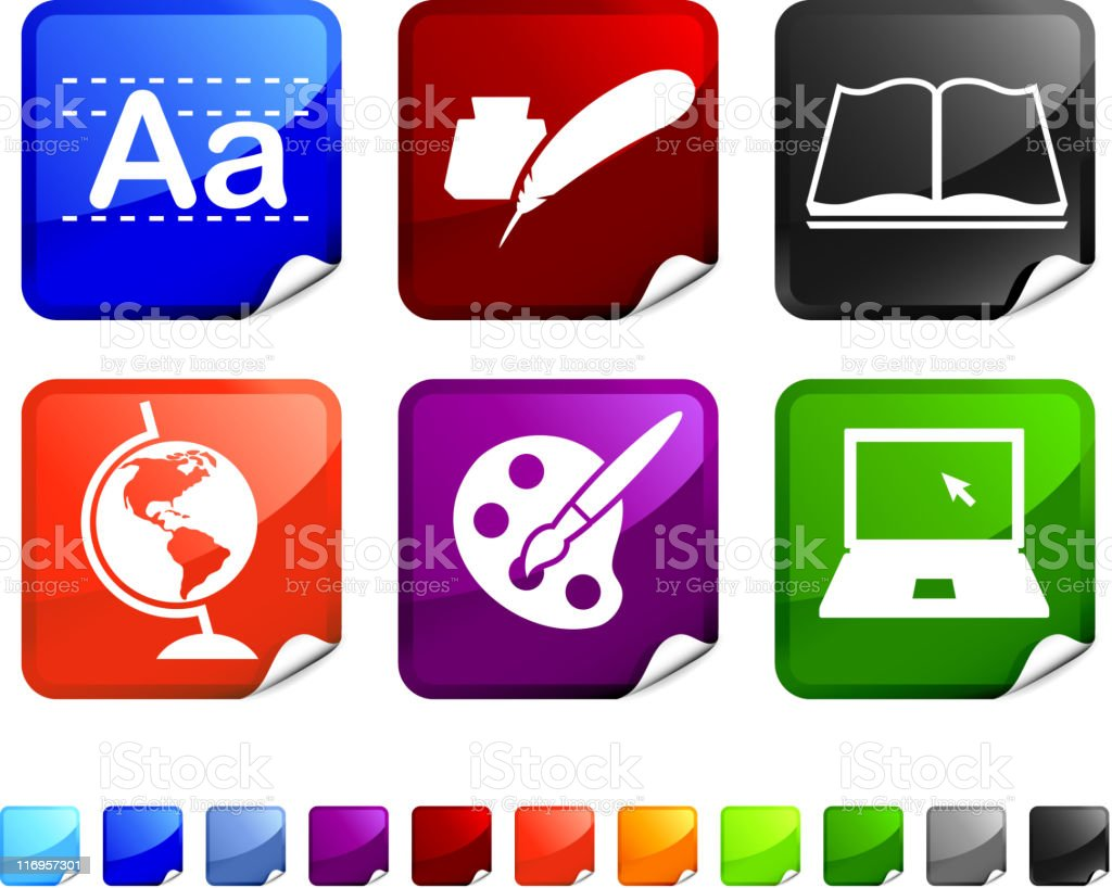 education royalty free vector icon set on sticker royalty-free stock vector art