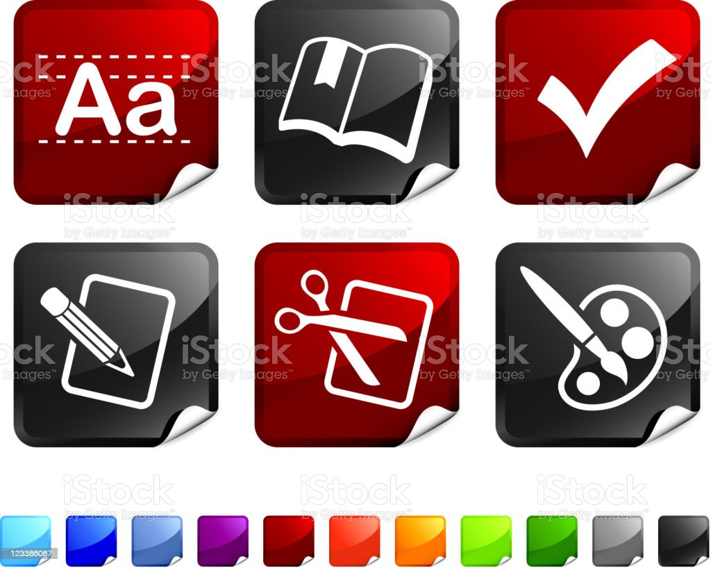 education royalty free vector icon set stickers royalty-free stock vector art