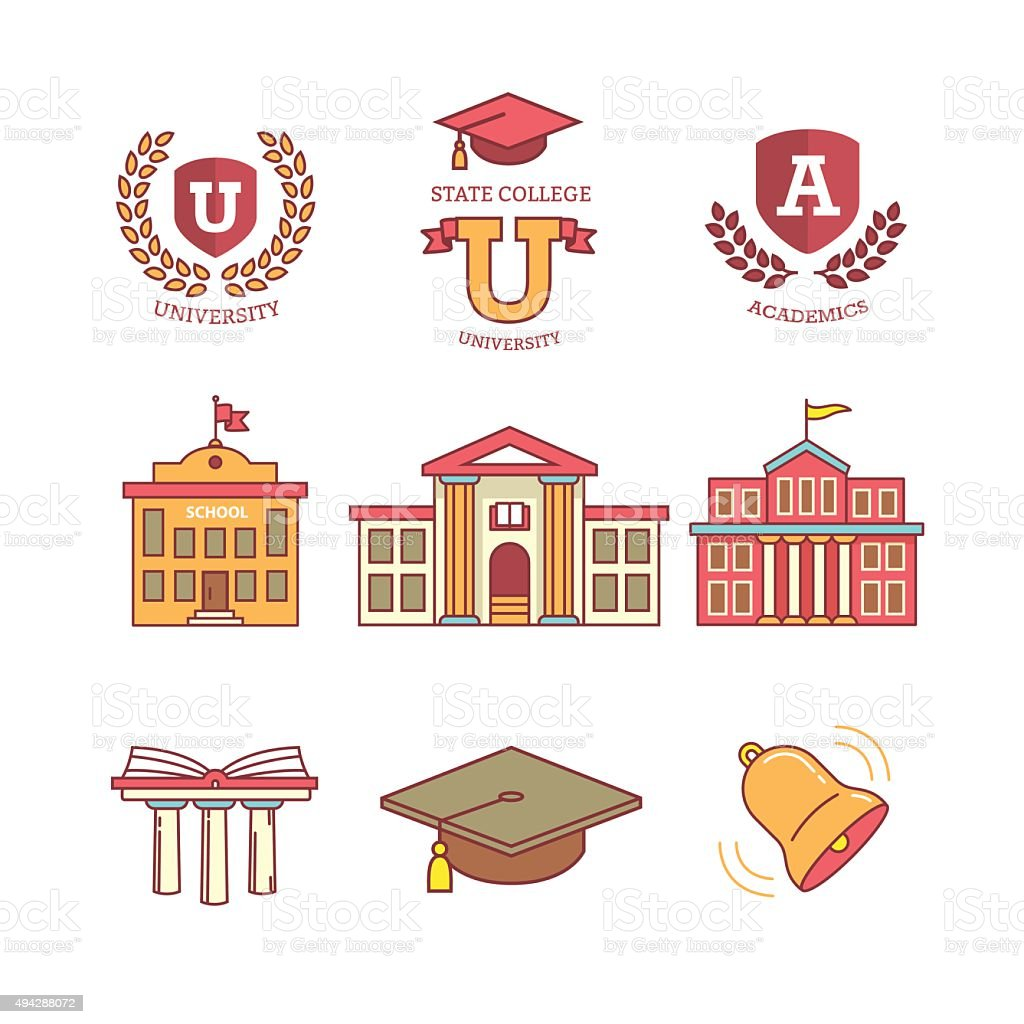 Education, school, academy, college and university vector art illustration