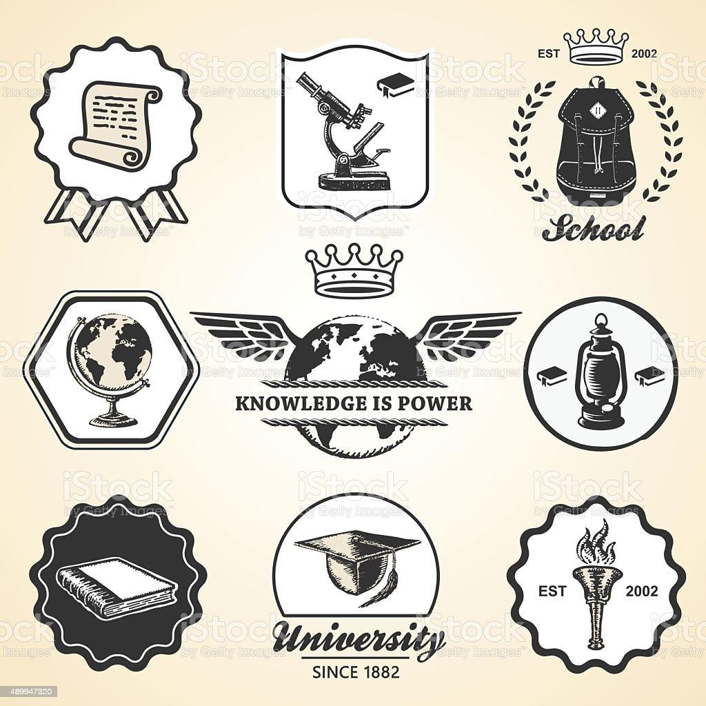 La educación escolar academy Universidad Colección de etiquetas vintage símbolo, emblema - ilustración de arte vectorial