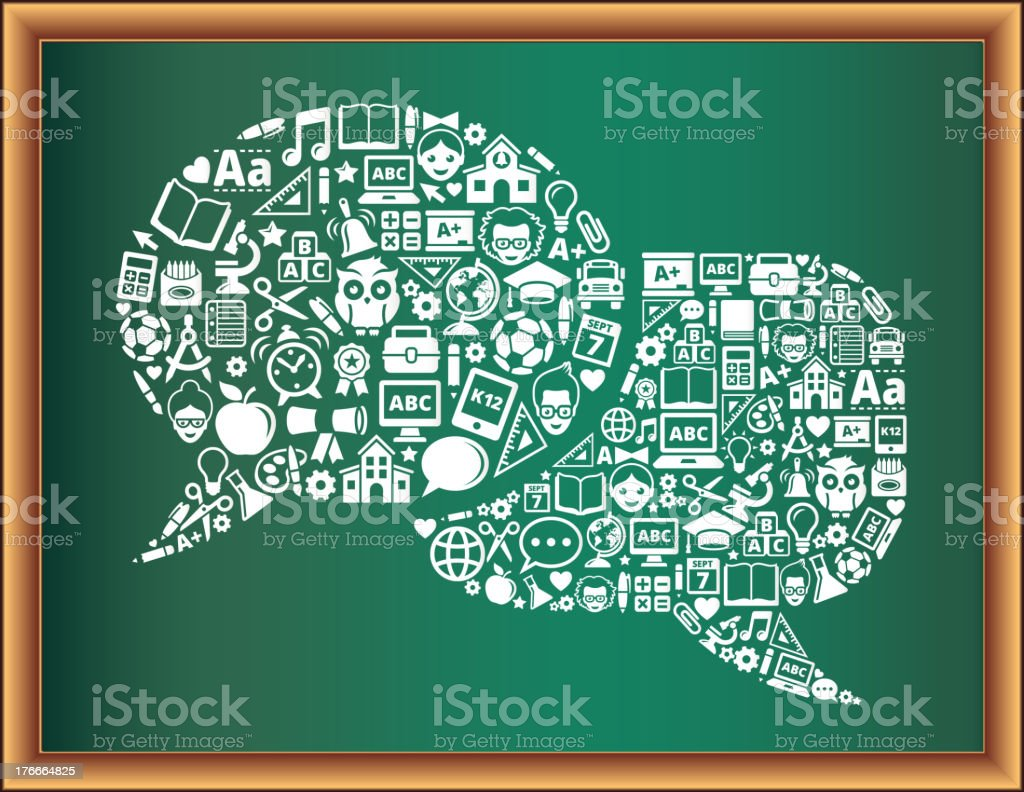 education & school and education Connected Speech Bubbles Blackboard Collection royalty-free education school and education connected speech bubbles blackboard collection stock vector art & more images of alarm clock