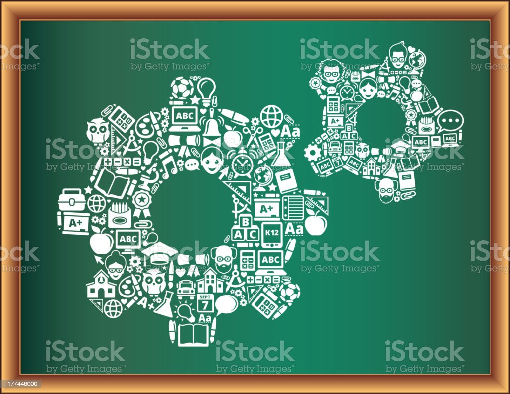education & school and education Gears Blackboard Collection royalty-free stock vector art