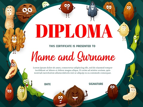 Education school diploma with cartoon nuts, seeds