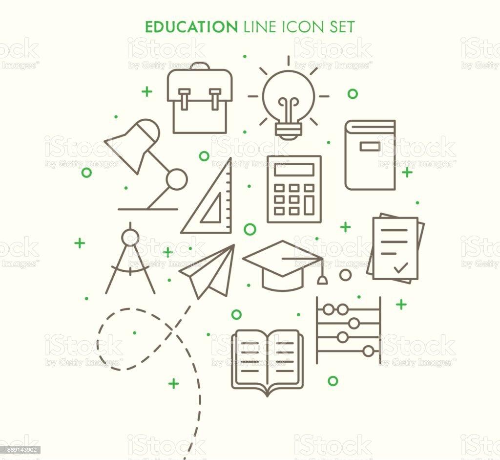 Education School Line Icon Set vector art illustration