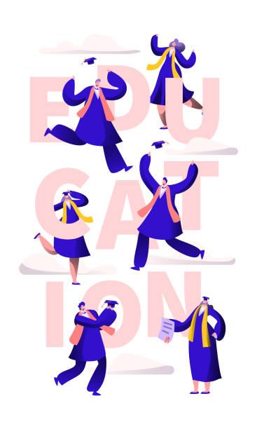ilustrações, clipart, desenhos animados e ícones de escola de educação motivação tipografia banner. academia grau poster impressão de convite para festa. universidade graduação pessoas felizes baile flyer modelo vector plana cartoon ilustração de personagens - baile de graduação