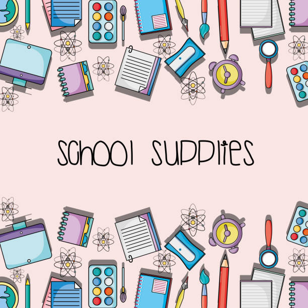 education school supplies backround design vector art illustration